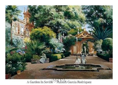 A Garden in Seville by Manuel Garcia Y Rodriguez art print
