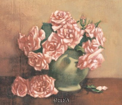 French Cottage Roses I by Linda Hanly art print
