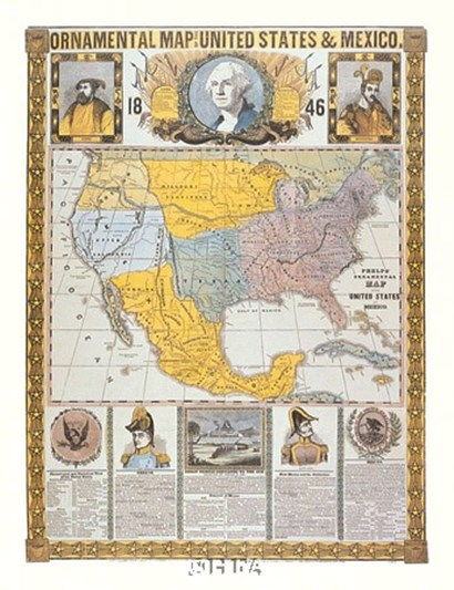 Ornamental Map/United States and Mexico by Humphrey Phelps art print