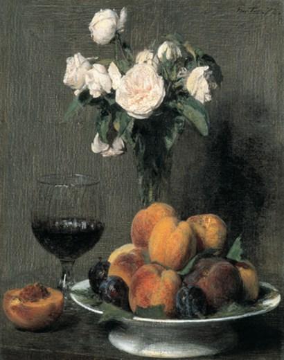 Roses Fruits Et Verre De Vin by Henri Fantin-Latour art print