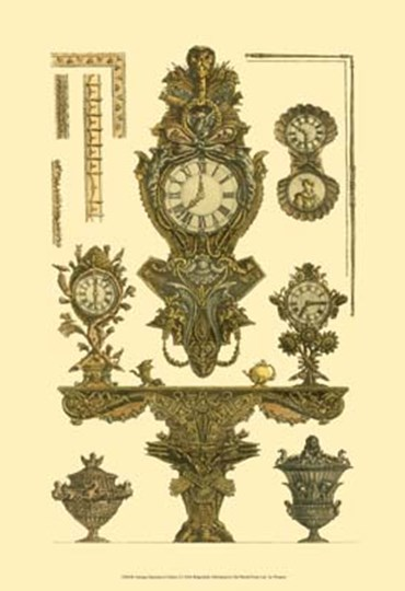 Antique Decorative Clock I by Francesco Piranesi art print