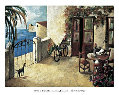 Perro y Bicicleta by Didier Lourenco art print