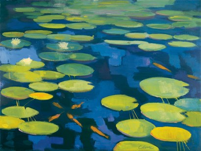 Lily Pond with Koi by Michael Clark art print