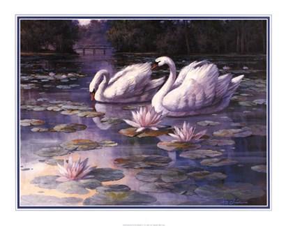 Swans and Bridge by T.C. Chiu art print