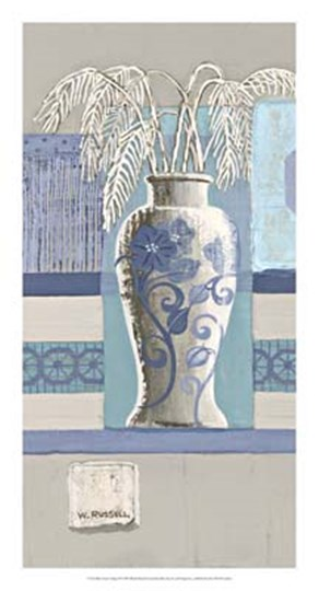 Blue Asian Collage II by Wendy Russell art print
