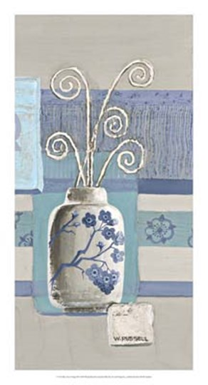 Blue Asian Collage III by Wendy Russell art print