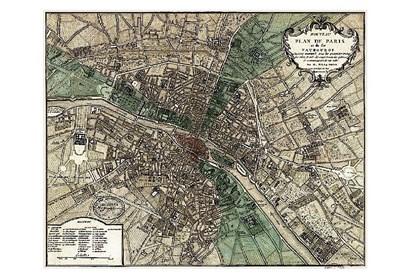 Plan de Paris - green art print