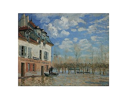 A Boat During the Flood at Port Marly, 1876 by Alfred Sisley art print