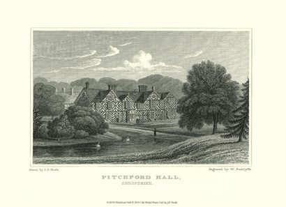 Pitchford Hall by J. p. Neale art print