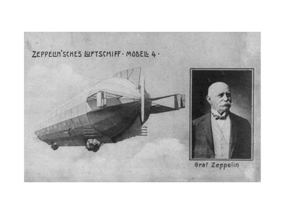Zeppelin Airship, with Inset bust Portrait of Graf Zeppelin art print