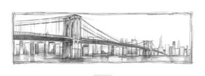 Brooklyn Bridge Sketch by Ethan Harper art print