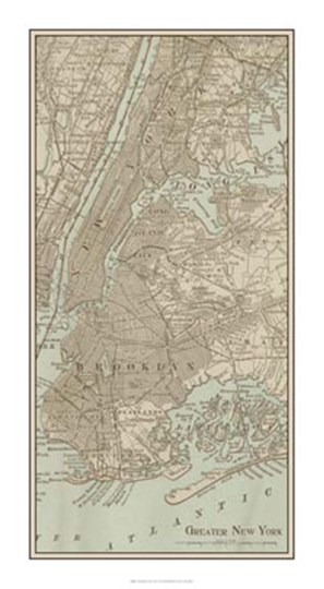 Tinted Map of New York by Vision Studio art print
