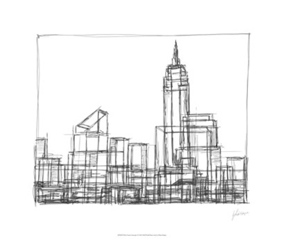 Wire Frame Cityscape I by Ethan Harper art print