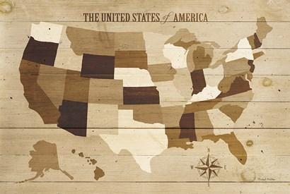 USA Modern Vintage Wood by Michael Mullan art print