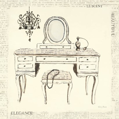 Emily's Boudoir III Table by Emily Adams art print