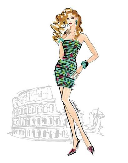 Colorful Fashion IV - Rome by Anne Tavoletti art print