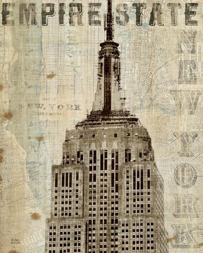 Vintage NY Empire State Building by Michael Mullan art print