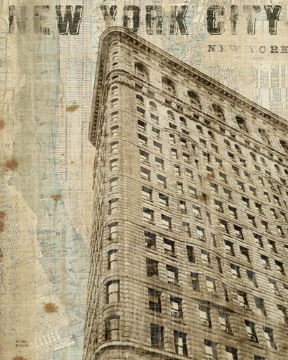 Vintage NY Flat Iron by Michael Mullan art print