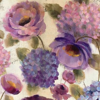 Blue and Purple Flower Song III by Silvia Vassileva art print
