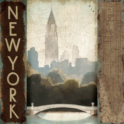 City Skyline New York Vintage Square by Marco Fabiano art print