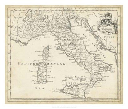 Map of Italy by T Jeffreys art print
