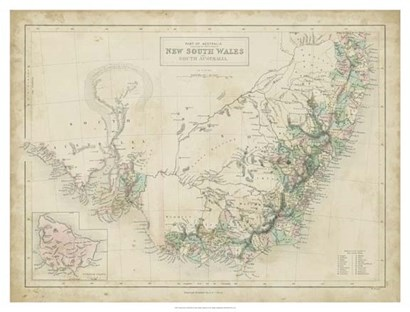 Map of New South Wales by William Hughes art print