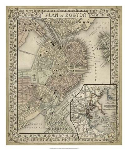 Plan of Boston by Laura Mitchell art print