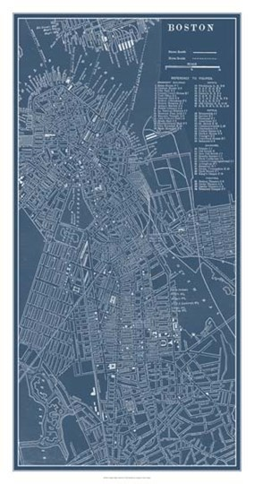 Graphic Map of Boston by Vision Studio art print