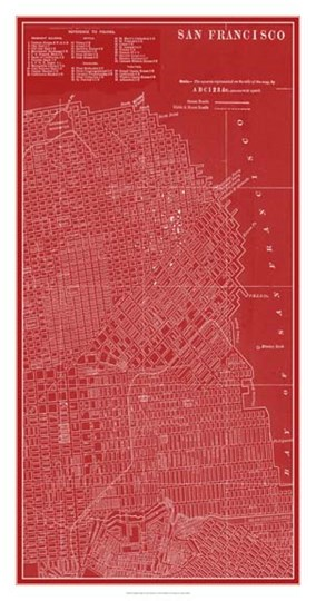 Graphic Map of San Francisco by Vision Studio art print