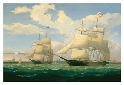 "The Ships ""Winged Arrow"" and ""Southern Cross"" in Boston Harbor, 1853 by Fitz Hugh Lane art print"