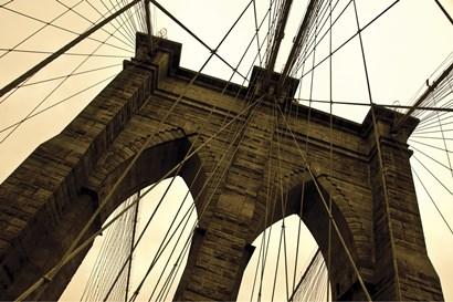 Brooklyn Bridge II (sepia) by Erin Clark art print