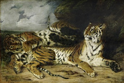 A Young Tiger Playing with its Mother, 1830 by Eugene Delacroix art print