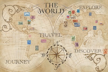 Old World Journey Map Stamps Cream by Cynthia Coulter art print