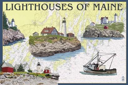 Lighthouses Of Maine by Lantern Press art print