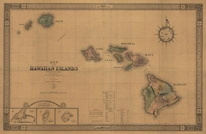 Hawaiian Islands Map by Lantern Press art print