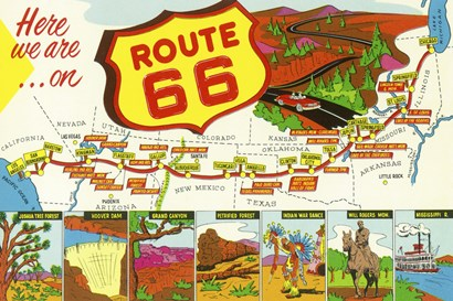Route 66 Here We Are by Lantern Press art print