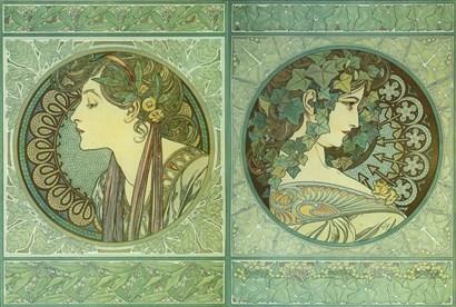 Green Medallions by Alphonse Mucha art print