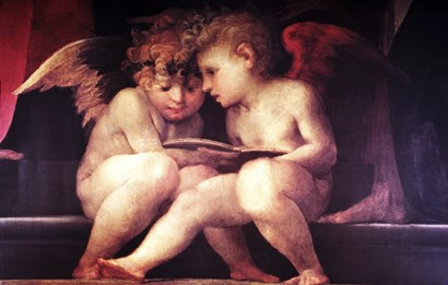 Two Redhead Cherubs by Vintage Apple Collection art print