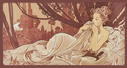 Sepia by Alphonse Mucha art print