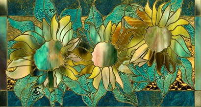 Verdigris Sunflower by Mindy Sommers art print