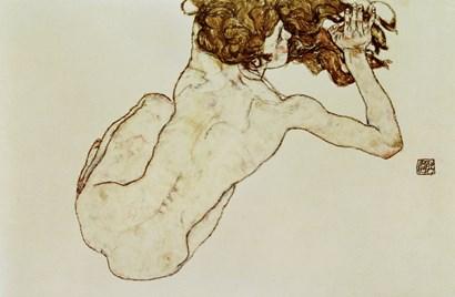 Crouching Nude by Egon Schiele art print