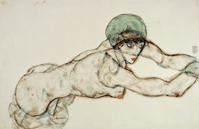 Reclining Female Nude with Green Cap, Leaning to the Right, 1914 by Egon Schiele art print