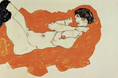 Reclining Female Nude On Red Drape, 1914 by Egon Schiele art print