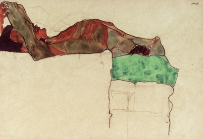 Reclining Male Nude With Green Cloth, 1910 by Egon Schiele art print