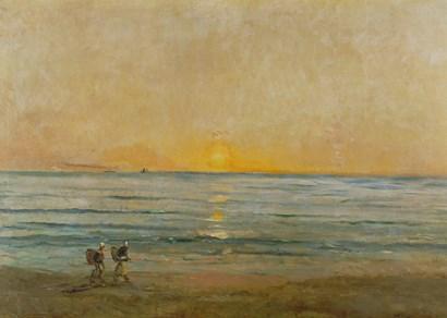 Sunset With Fishermen by Charles Francois Daubigny art print