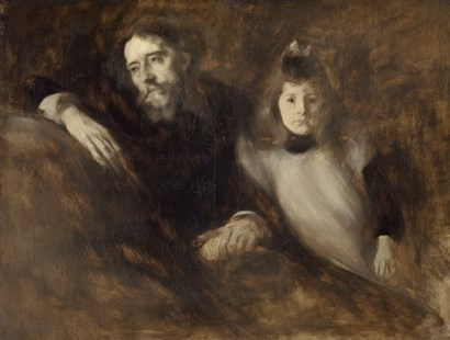Alphonse Daudet And His Daughter Edmee by Eugene Carriere art print