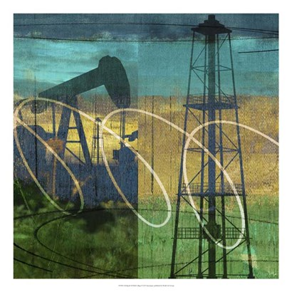 Oil Rig & Oil Well Collage by Sisa Jasper art print