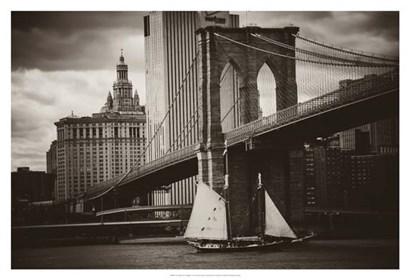 The Sailboat & the Bridge by John Brooknam art print