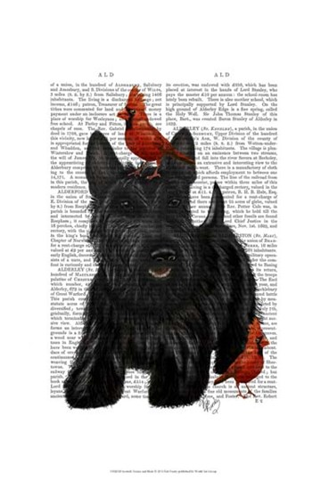 Scottish Terrier and Birds by Fab Funky art print
