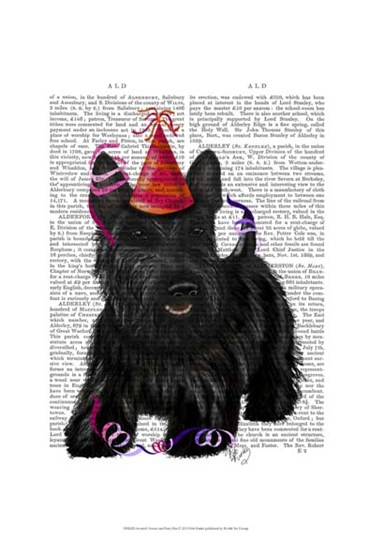 Scottish Terrier and Party Hat by Fab Funky art print